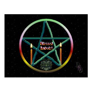 Imbolc Pentagramm Postkarte