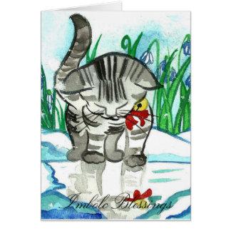 Imbolc Segen wenig Schnee-Katzen-Gruß-Karte Karte