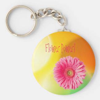 img26, marguerite de gerber, flower power ! porte-clé rond