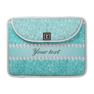 Imitat-aquamarine Sequins und Diamanten Sleeve Für MacBook Pro
