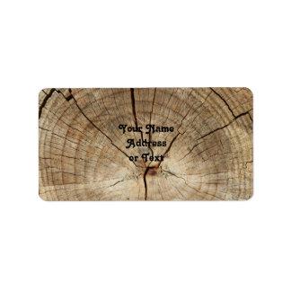 Imitat-Baum-Ring-Hintergrund Adressetikett