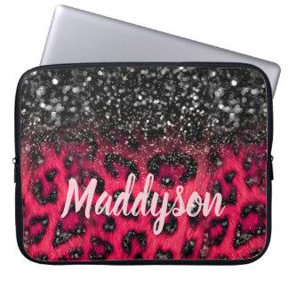 Imitat-beschmutzt rosa schwarzer Glitzer-Leopard Laptopschutzhülle