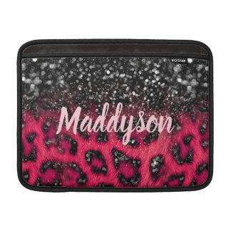Imitat-beschmutzt rosa schwarzer Glitzer-Leopard MacBook Sleeve