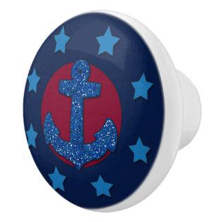 Imitat-blauer Glitter-Anker   nautisch Keramikknauf