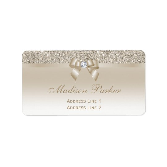 Imitat-Champagnesequins-Bogen-Band-Diamant Adressaufkleber