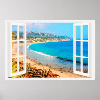 Imitat-Fenster mit Strand-Ozean Poster