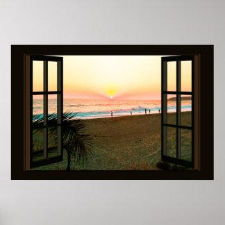 Imitat-Fenster mit Strand-Sonnenuntergang-Ozean Poster