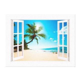 Imitat-Fenster mit Strand-und Leinwanddruck