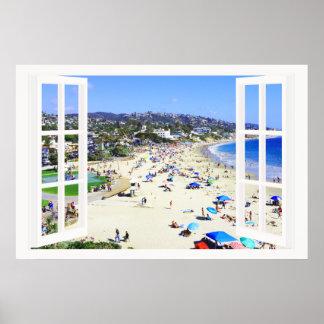 Imitat-Fenster mit Strand-und Poster