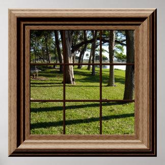 Imitat-Fenster-Plakat-friedliche Landschaft mit