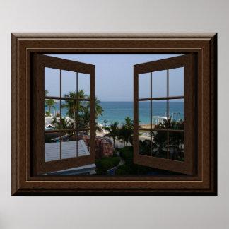 Imitat-Fenster-Plakat-friedliche Ozean-Szene