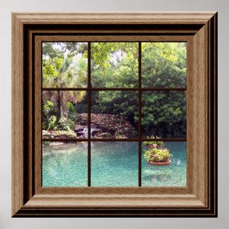 Imitat-Fenster-Plakat-friedlicher Wasser-GartenZen