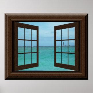 Imitat-Fenster-Plakataquamarine-Ozean-Szene
