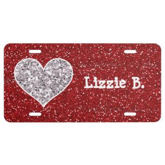 Imitat-Girly rote und silberne Glitter-Herzen US Nummernschild