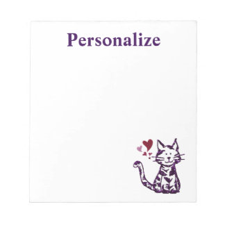 Imitat-Glitter-lila Katze mit Herzen Notizblock
