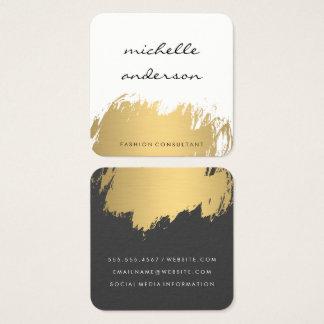 Imitat-Gold gebürstetes weißes Grau Quadratische Visitenkarte