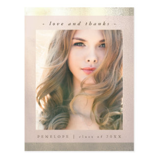 Imitat-Gold mit rosa Abschluss danken Ihnen Foto Postkarte