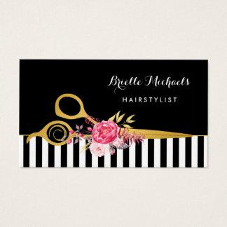 Imitat-Gold Scissors Streifen-rosa Visitenkarte