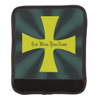 Imitat-Goldbyzantinisches Kreuz auf aquamarinem Koffergriffwickel