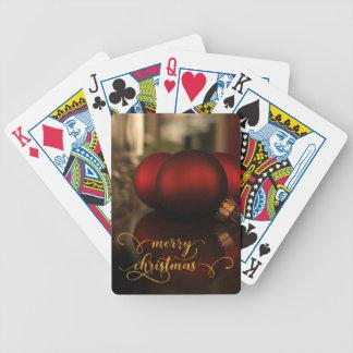 Imitat-Goldfolien-frohe Weihnachten mit roten Bicycle Spielkarten