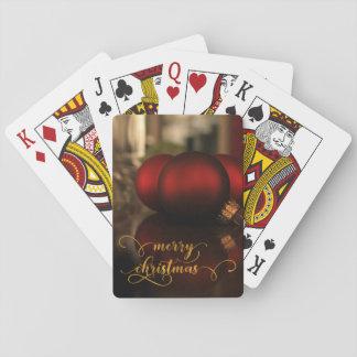 Imitat-Goldfolien-frohe Weihnachten mit roten Spielkarten
