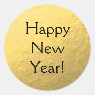 Imitat-Goldfolien-glückliches neues Jahr-glatter Runder Aufkleber