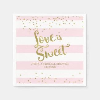 Imitat-Goldfolien-Rosa-Streifen-Liebe ist- süße Papierservietten