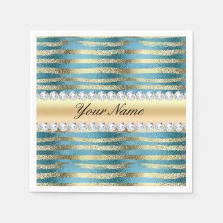 Imitat-Goldfolien-Streifen auf gewelltem blauem Serviette