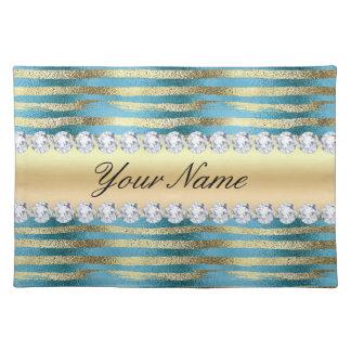 Imitat-Goldfolien-Streifen auf gewelltem blauem Tischset