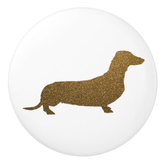 Imitat-GoldGlitter der Dackel-Hundeikonen-(rechts) Keramikknauf