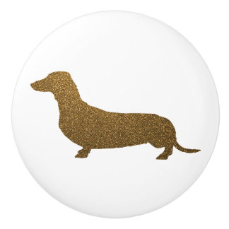 Imitat-GoldGlitter der Dackel-Hundeikonen-(zu Keramikknauf