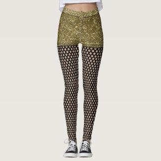 Imitat-GoldGlitter-heiße Hosen und