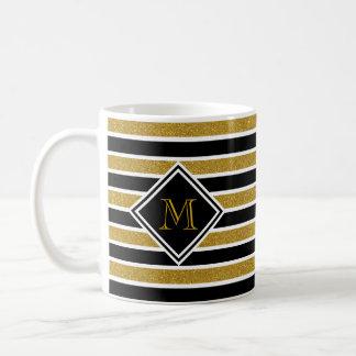 Imitat-GoldGlitzer-schwarze u. weiße Streifen u. Kaffeetasse