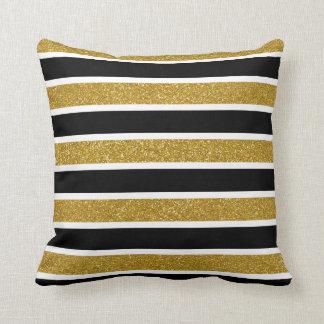 Imitat-GoldGlitzer-weiße u. schwarze Streifen Kissen