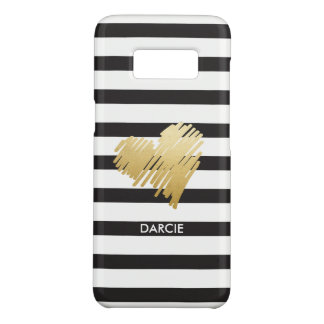 Imitat-Goldherz-Schwarz-weißes gestreiftes Case-Mate Samsung Galaxy S8 Hülle