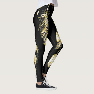 *~* Imitat-GoldLuxe Federnu. -kristalleChic Trendy Leggings
