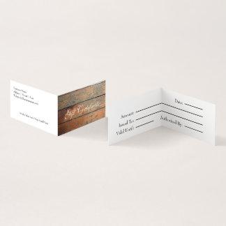 Imitat-hölzernes Geschenk-Zertifikat Visitenkarten