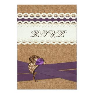 IMITAT-Leinwand, Spitze mit lila Hochzeits-uAwg Individuelle Einladungskarte