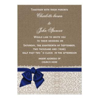 IMITAT-Leinwand, Spitze und blaues Band der Marine Einladungskarten