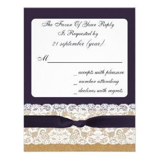 IMITAT-Leinwand und -spitze mit lila uAwg Einladung