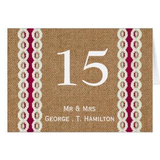 IMITAT Leinwand und wedding Tischnummern der rosa Mitteilungskarte