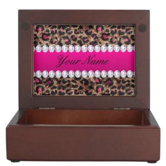 Imitat-Leopard-heißes Rosa-Rosen-Goldfolie und Erinnerungsdose