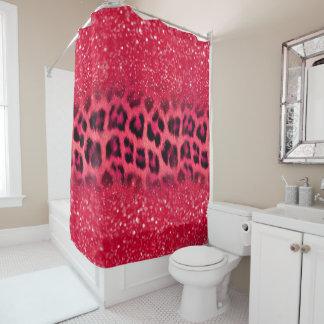 Imitat-rosa Glitzer-Leopard-Stellen für jugendlich Duschvorhang