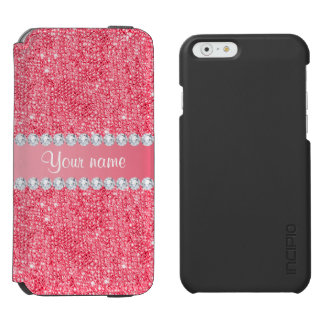 Imitat-rosa Sequins und Diamanten Incipio Watson™ iPhone 6 Geldbörsen Hülle