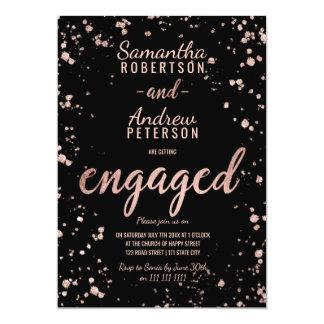 Imitat-Rosengoldconfetti-Spritzer-Skript-Verlobung 12,7 X 17,8 Cm Einladungskarte
