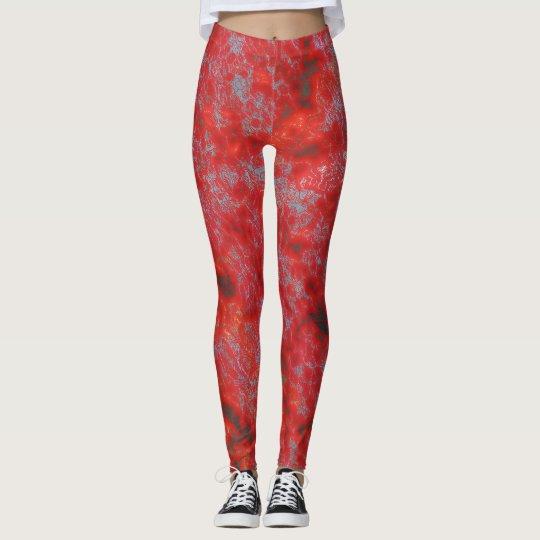 Imitat-rote Marmorgamaschen Leggings