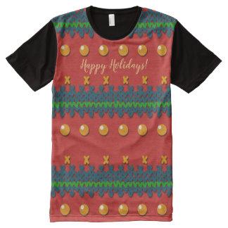 Imitat strickte hässliches Weihnachtsnostalgischen T-Shirt Mit Komplett Bedruckbarer Vorderseite