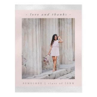 Imitat-weiße metallische mit rosa Foto danken Postkarte