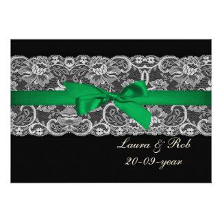 Imitatspitzeband-Smaragdgrünhochzeit danken Ihnen Personalisierte Einladungskarte