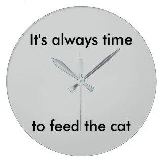 Immer Zeit, die Katzen-Uhr zu füttern Große Wanduhr
